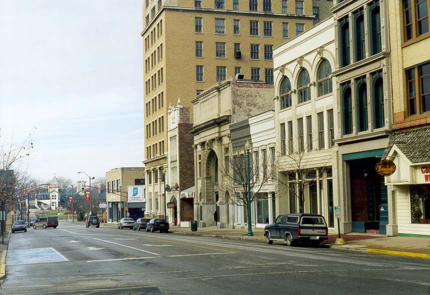 Downtown Lafayette. The First Merchant's National...in 1918) is at the center. Indiana