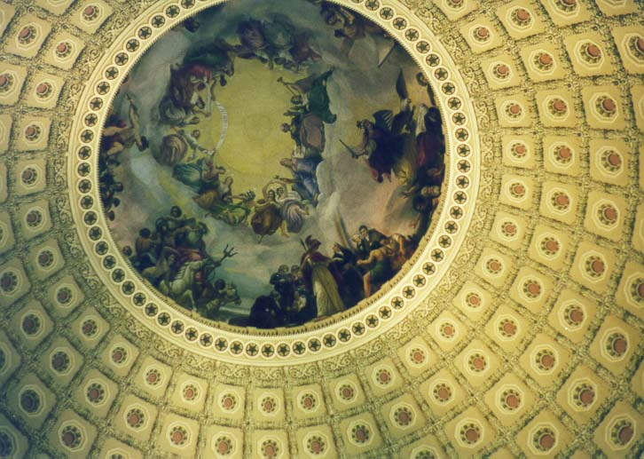 Paintings on a dome of the Capitol. Washington DC