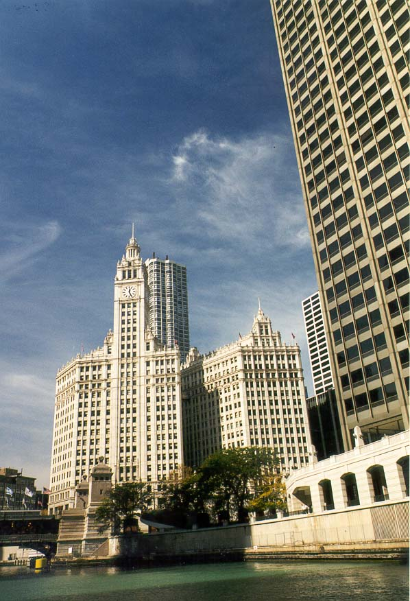 Wrigley Building and NBC Tower, view from Chicago River. Chicago