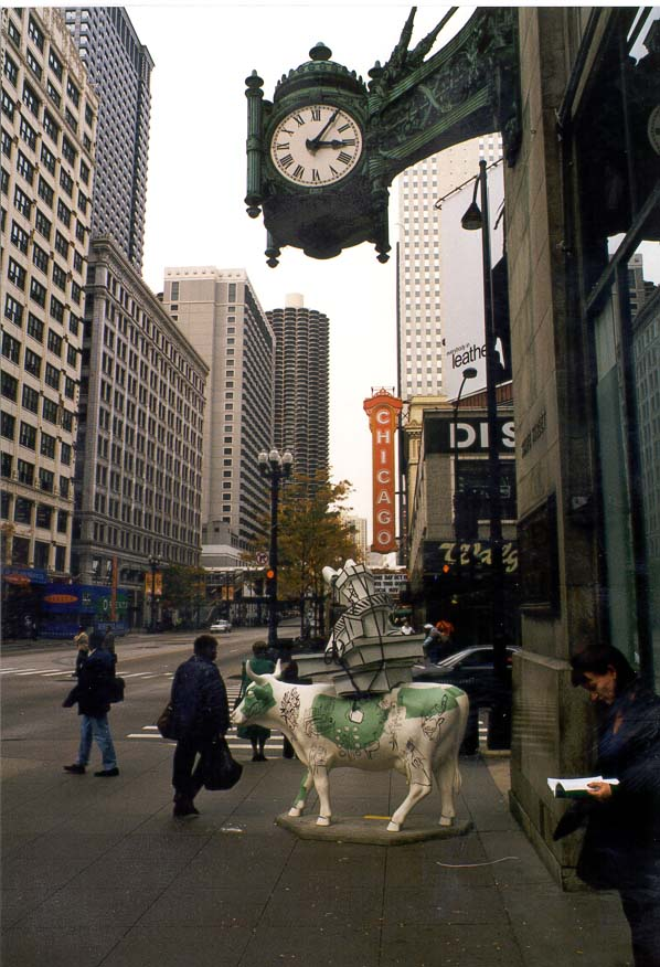 The Marshall Field clock at the corner of State and Randolf. Chicago