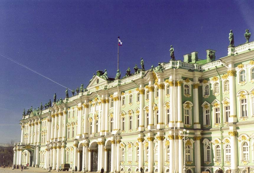 The Hermitage (Winter Palace) at Dvortsovaya Square. St.Petersburg, Russia