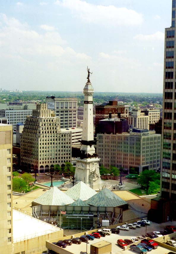 View of Monument Circle from an office in AUL Tower in downtown Indianapolis. Indiana