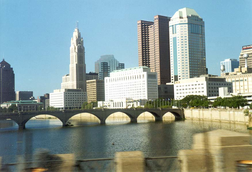 Downtown of Columbus OH from a window of Greyhound bus