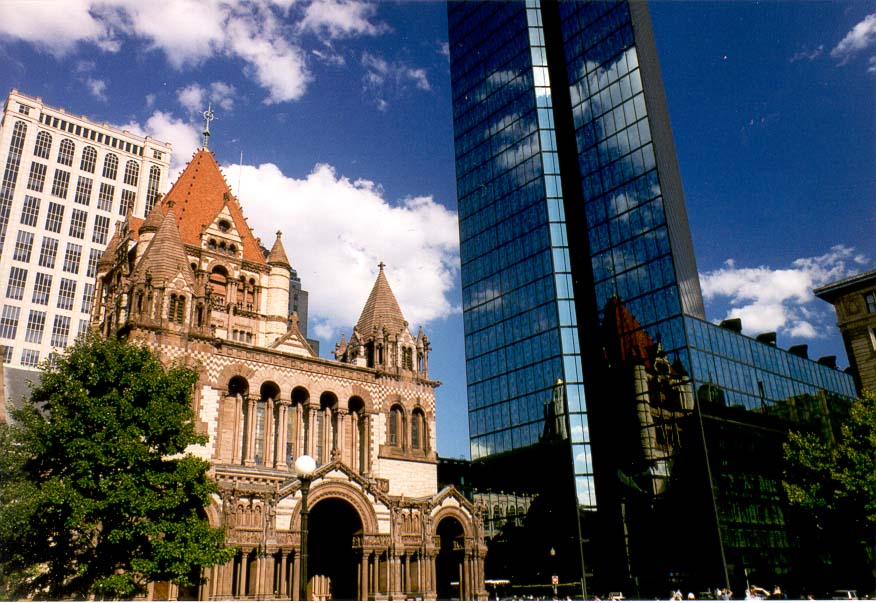 Copley Square with Trinity Church and Hancock Tower in Boston