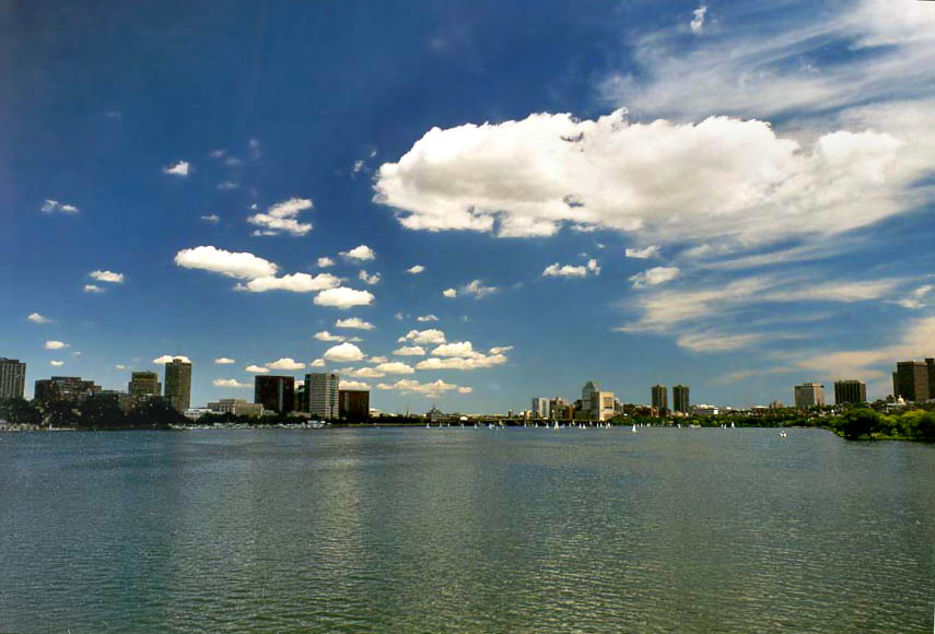 View of Cambridge and Boston from Harvard Bridge...Charles River in Boston. Massachusetts