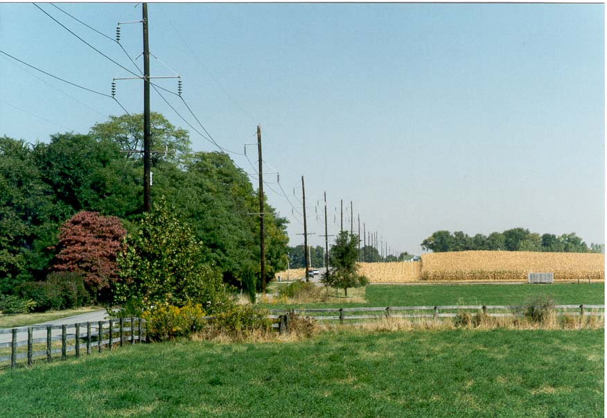 A pasture and a corn field along County Rd. 500 West west from Lafayette, Indiana