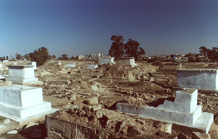 Destroyed and abandoned Muslim Cemetery in downtown Beer-Sheva. The Middle East