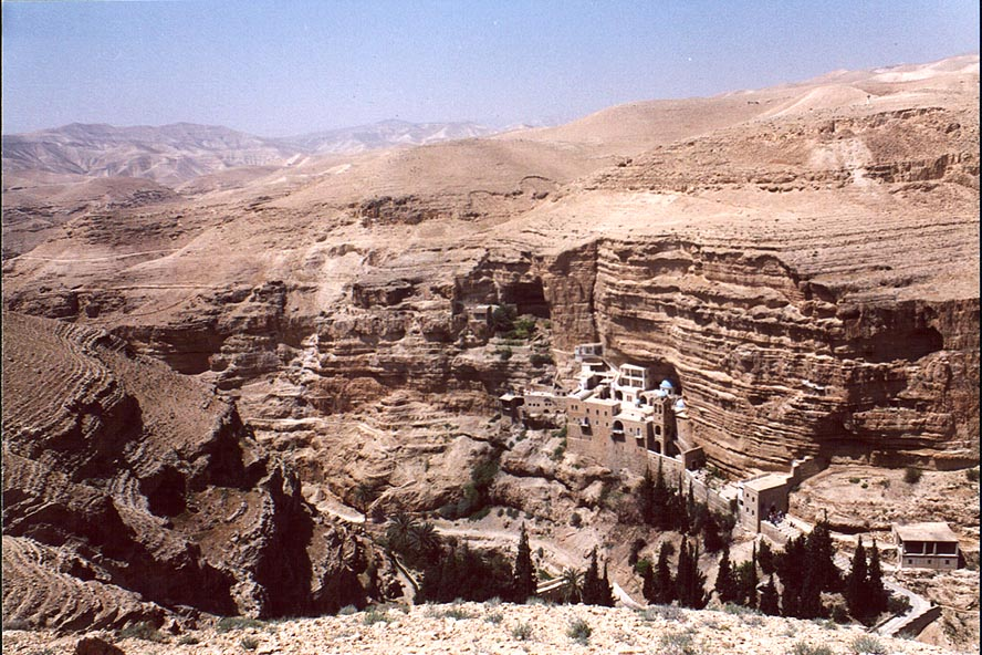Canyon of Wadi Kelt River and St.George Monastery, near Jericho. The Middle East