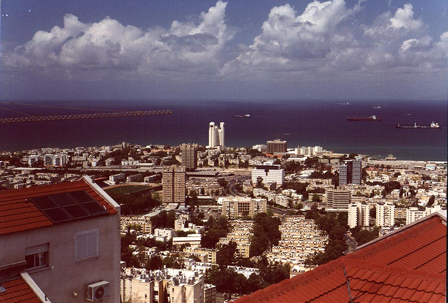 View of Haifa and Mediterranean Sea from Mount Carmel. The Middle East