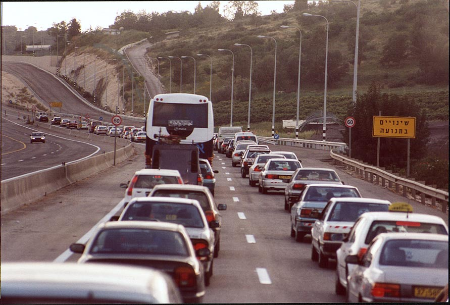 A traffic jam near Haifa at Saturday evening. The Middle East