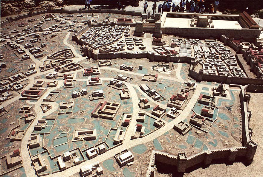 1/50th scale model of Herod's temple at Holyland...View from above. The Middle East