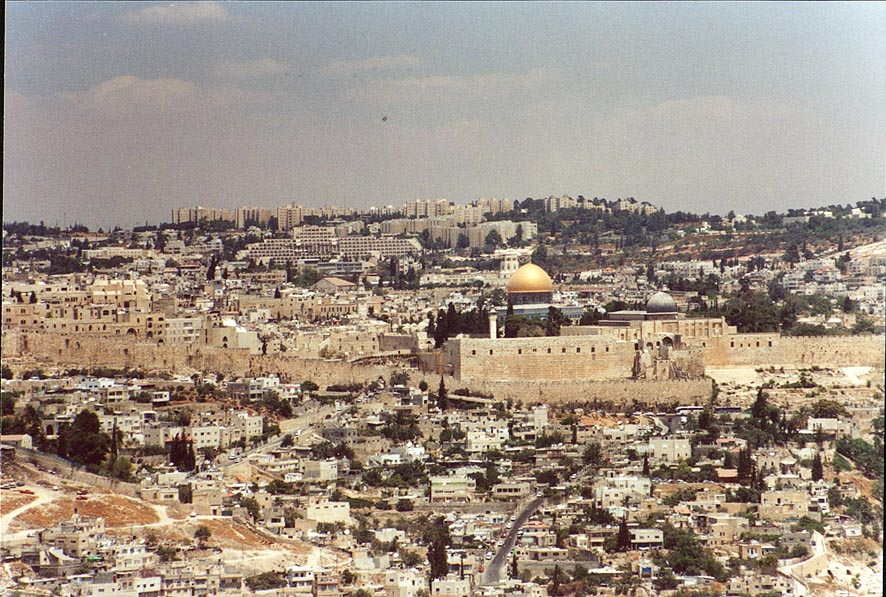 View of Temple Mount in Jerusalem from a southern hill. The Middle East