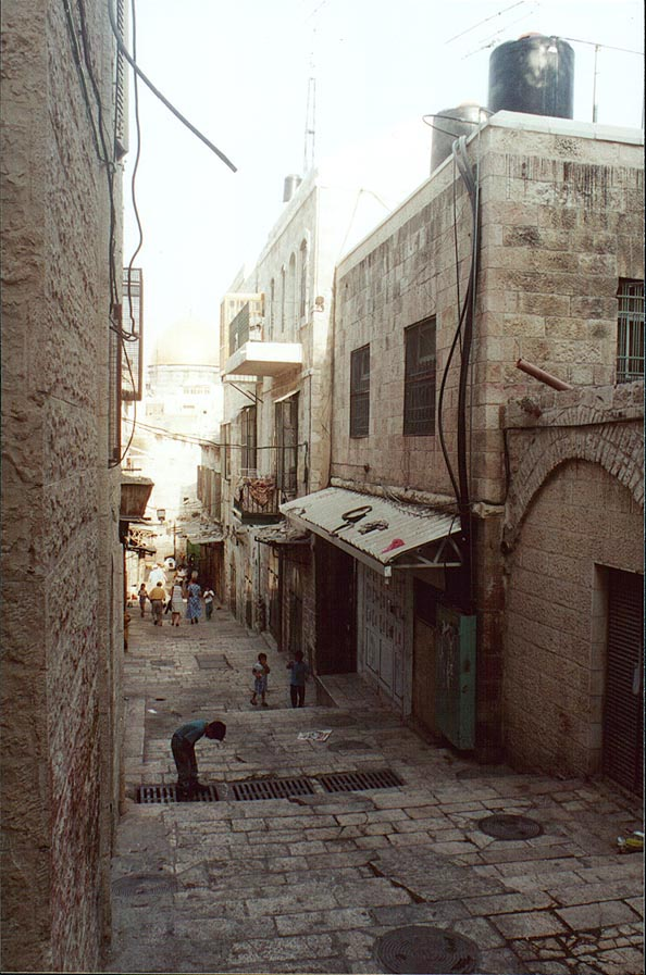 Aqabad El-Mawlawiyeh Street in Arab Quarter of Old City of Jerusalem. The Middle East