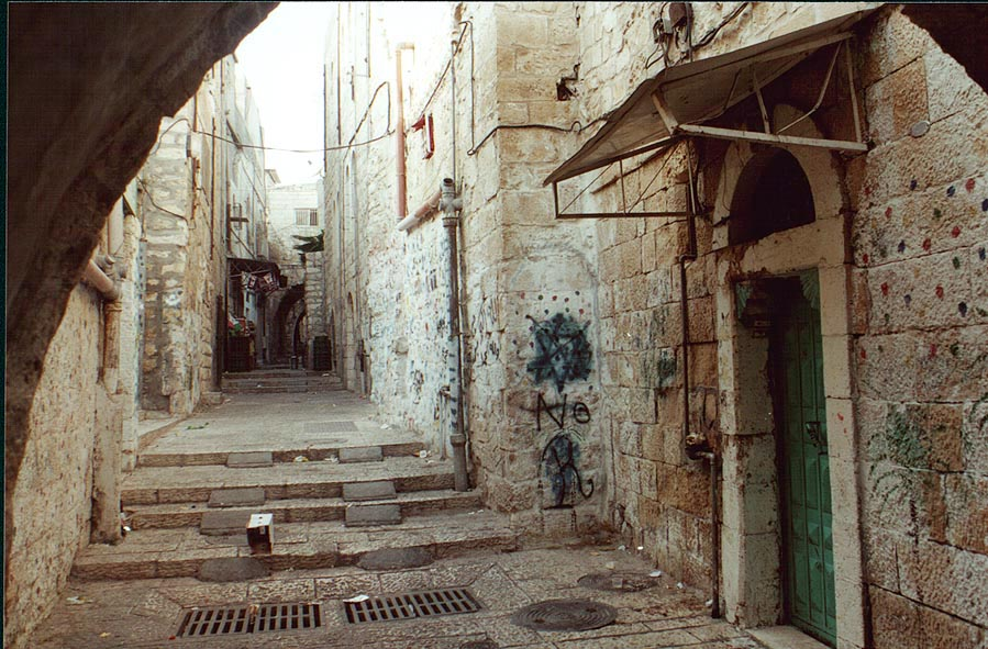 A street in Arab Quarter of Old City of Jerusalem. The Middle East