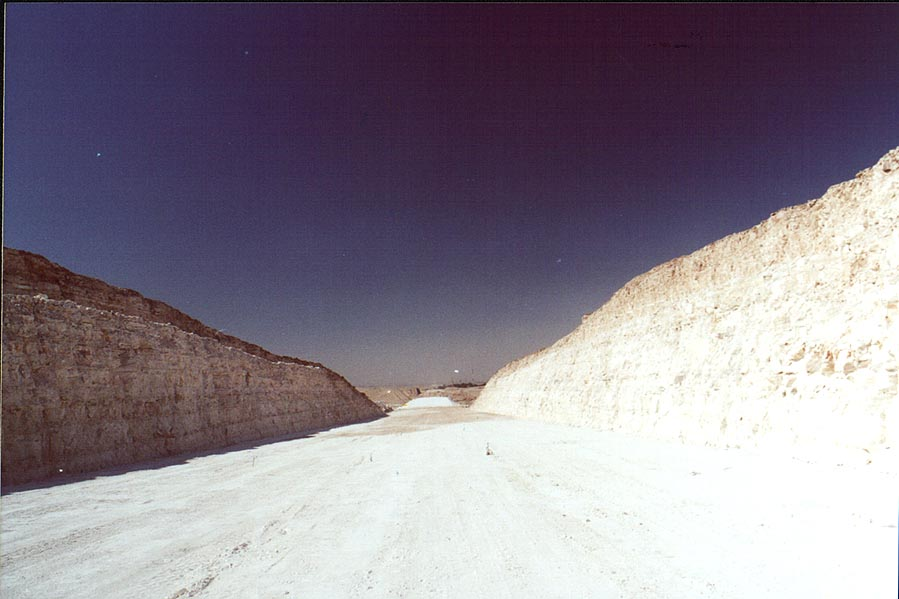 New road through chalkstone of Negev Desert 1 mile north from Beer-Sheva. The Middle East