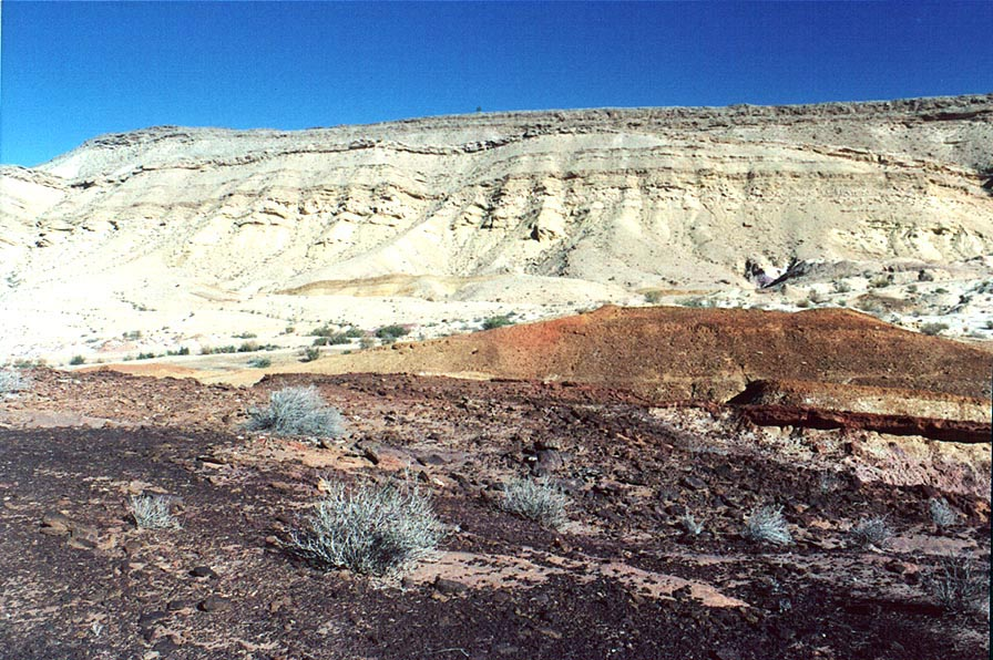 Big Crater (Makhtesh Gadol), multicolored sands...wall on background. The Middle East