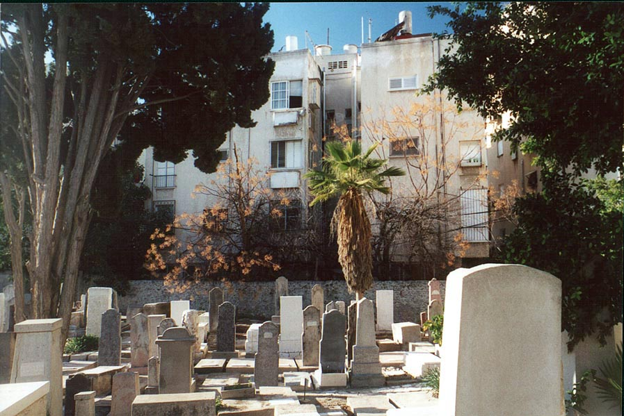 Old Cemetery near Allenby Rd. and Ben Yehuda St...buildings. Tel Aviv, the Middle East