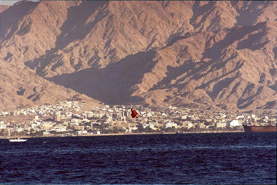 View of Akaba at evening. Eilat, the Middle East