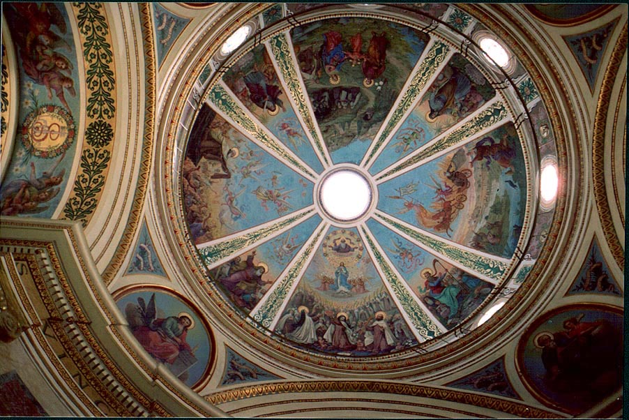 A dome decorated with paintings of events in the...Monastery. Haifa, the Middle East