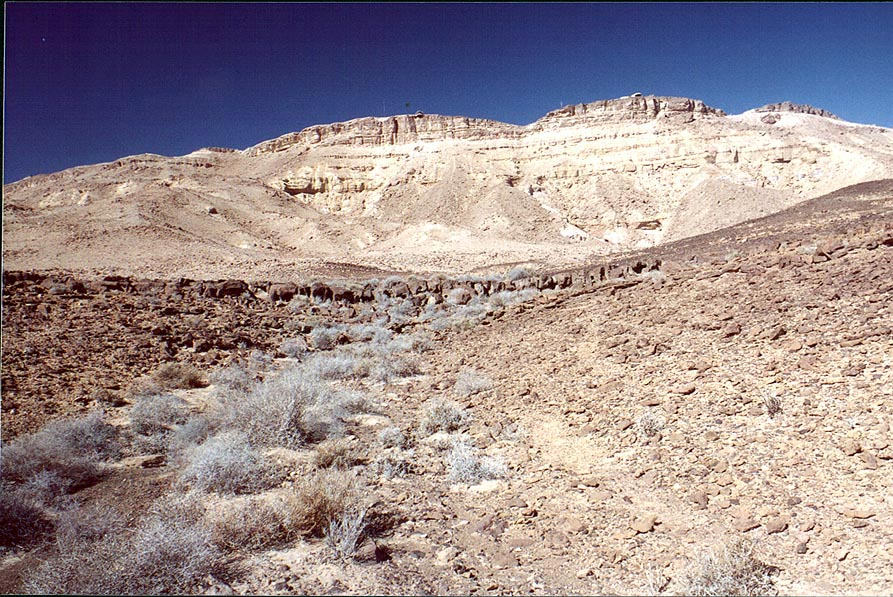 A foot of a hill on a bottom of Ramon Crater...the rim to the north. The Middle East