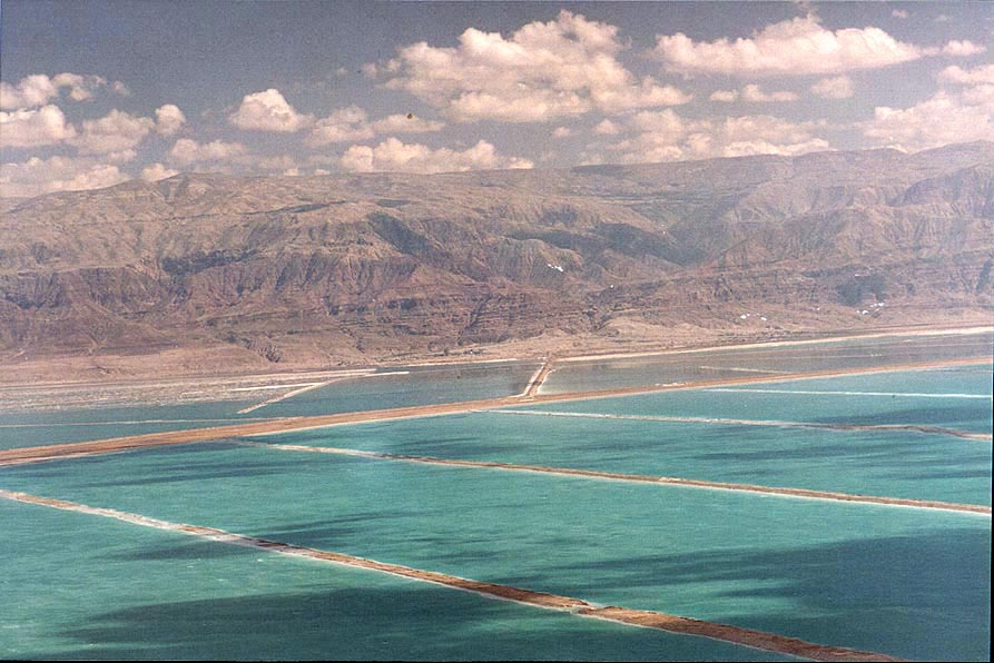 Dead Sea salt pans and Moav Mountains in Jordan...above Ein Bokek. The Middle East