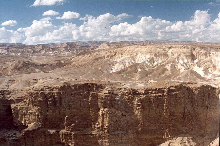 Upper northern side of the Bokek creek canyon and hills of Judean Desert. The Middle East