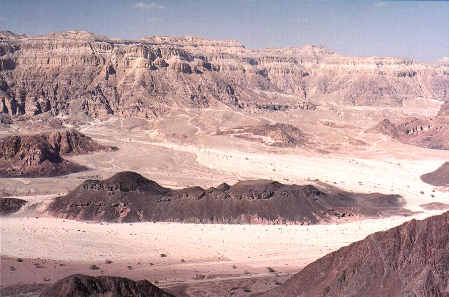 View of Timna Stream and Timna Cliffs to the north from Timna Stage. The Middle East