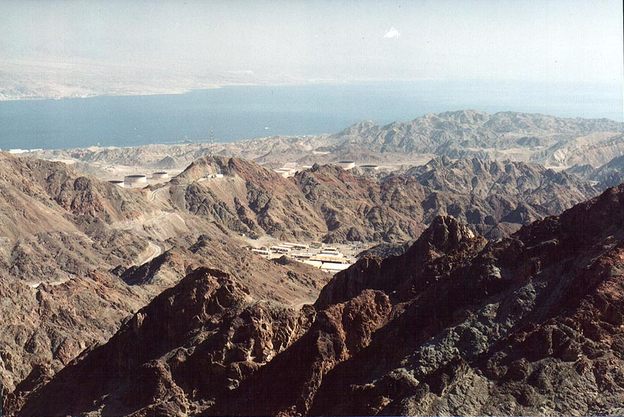 View of mountains and Red Sea south from Eilat...north-west from Eilat. The Middle East