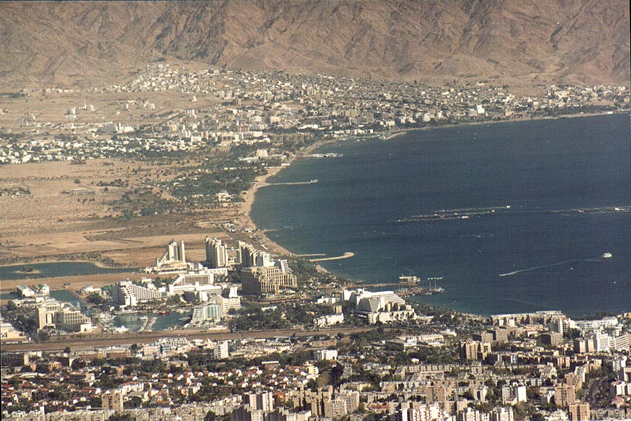 Eilat and Aqaba (zoomed), view from one of...north-west from Eilat. The Middle East