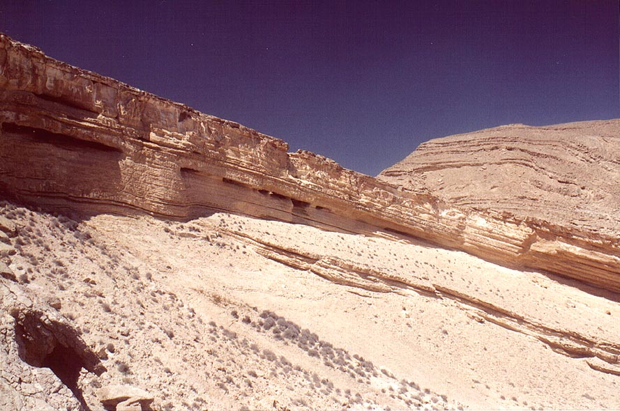 Horseshoe formation (a round tilted pit 200-250 m...view from lower site. The Middle East
