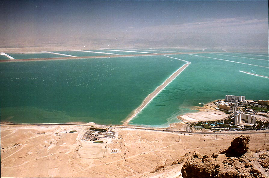 View of salt pans in Red Sea near Ein Bokek from...of Judean Desert. The Middle East