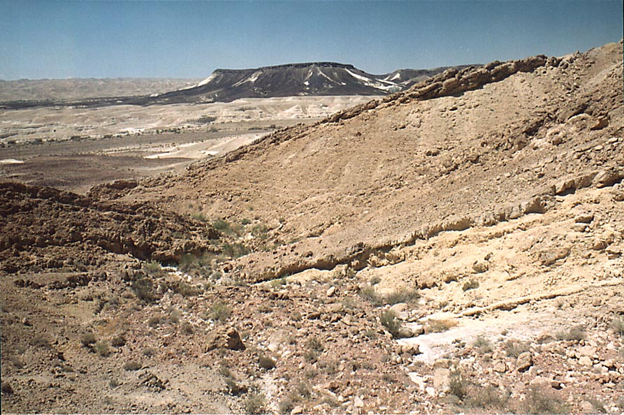 View to the south along a river going from...from Mitzpe Ramon. The Middle East