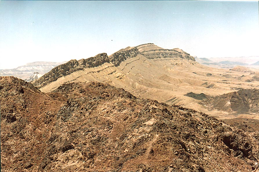 A summit of Ramon's Tooth, view to the west, with...from Mitzpe Ramon. The Middle East