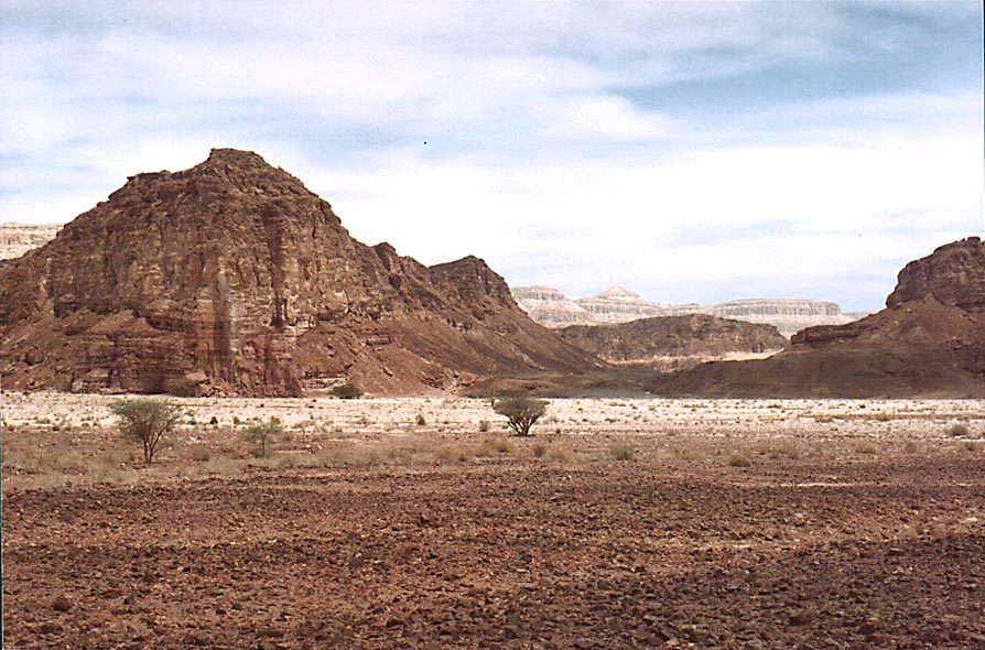 View to the north from the entrance to Timna Park, near Eilat. The Middle East, Morning of