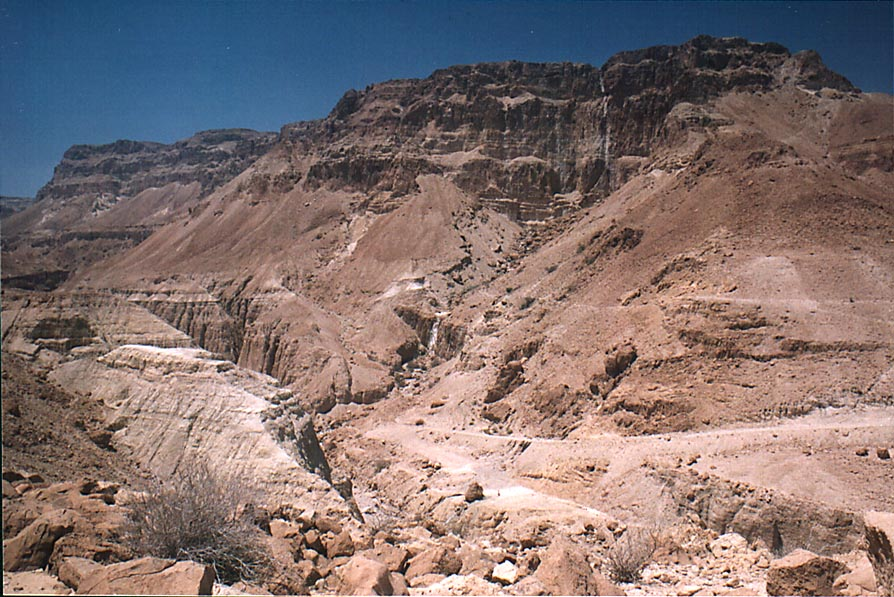 Tseelim River, view from Roman road along Dead Sea from Masada. The Middle East