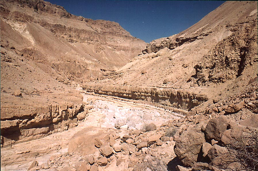 Riverbed of Nahal Tseelim 2 miles north from Masada. The Middle East