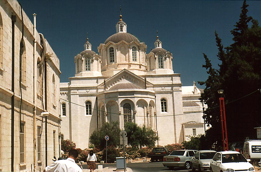 Russian Holy Trinity Church, view from the law courts. Jerusalem, the Middle East