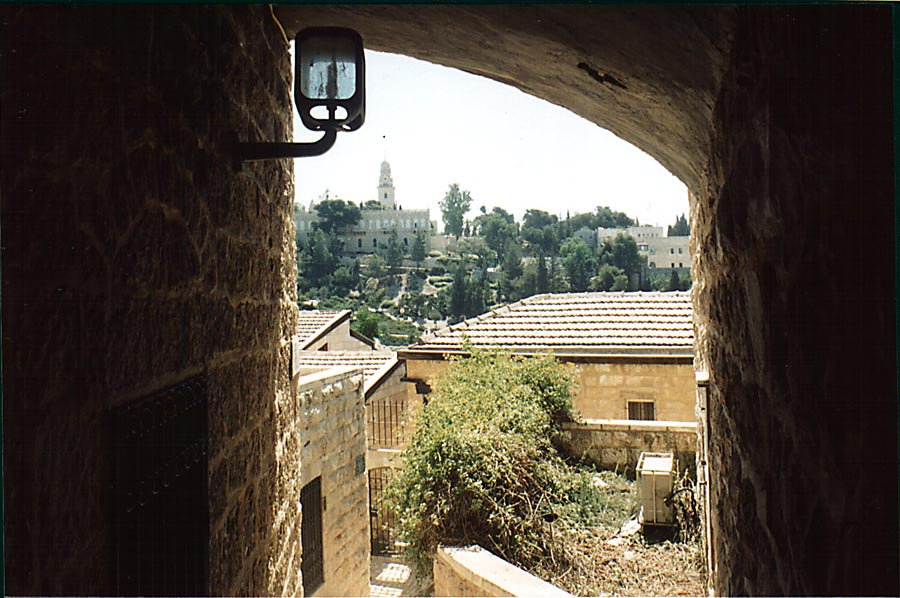 View of Dormition Church from Yemin Moshe St...Sha'ananim. Jerusalem, the Middle East