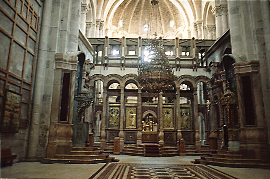 Catholicon Hall in the Church of the Sepulchre in Old City. Jerusalem, the Middle East