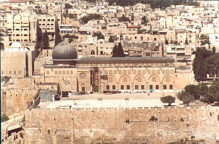 View of Solomon's Stables and El-Aqs Mosque from...of Olives. Jerusalem, the Middle East