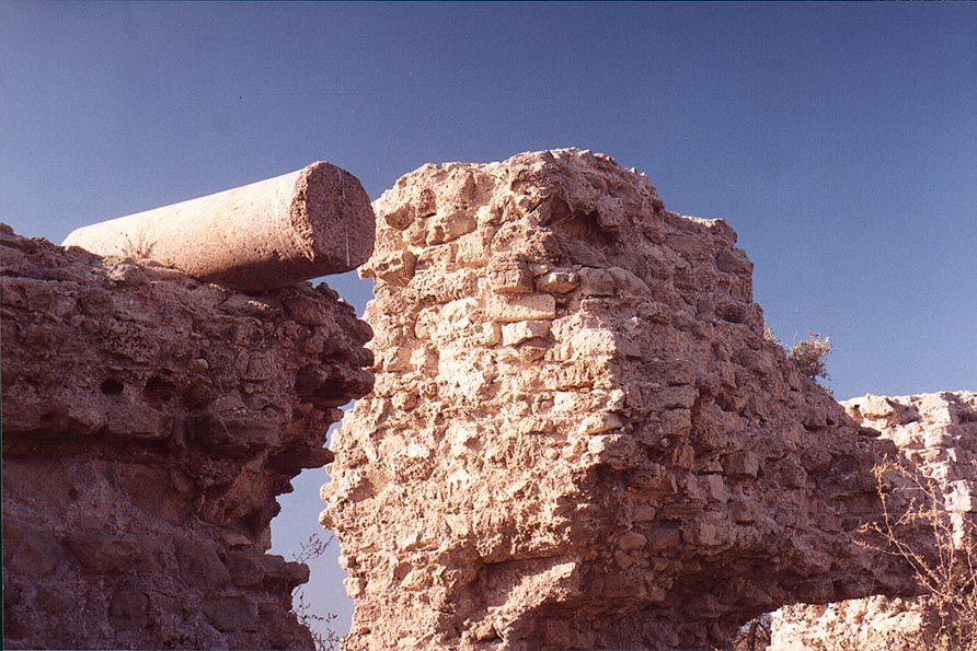 View of remains of Crusader bastion and a pillar...in southern Ashkelon. The Middle East