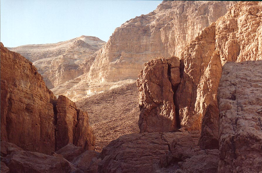 Landscape near En Namer spring in Tseelim Canyon...west from Masada. The Middle East