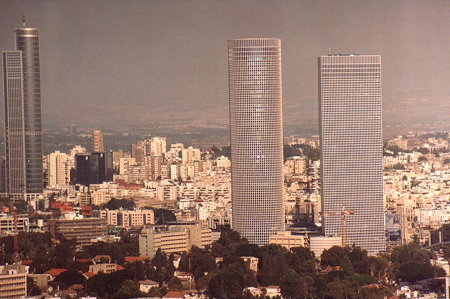View of Hashalom towers and Ramat Gan from Migdal Shalom tower. Tel Aviv, the Middle East
