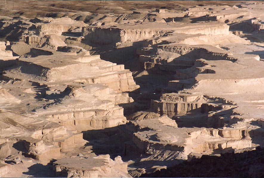 Masada marls (powdery chalk wadi), view to the...near the Dead Sea. The Middle East