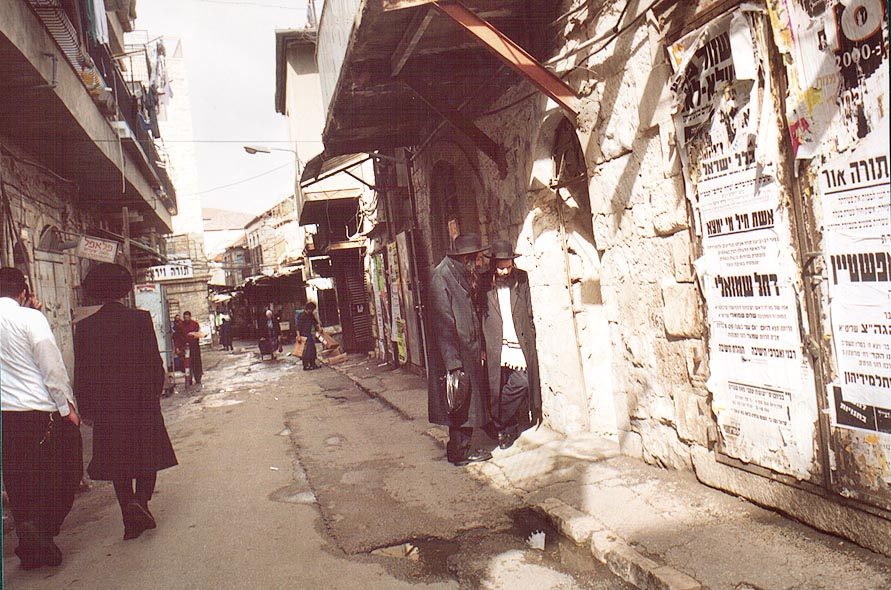 An alley in Mea Shearim Jewish orthodox quarter. Jerusalem, the Middle East