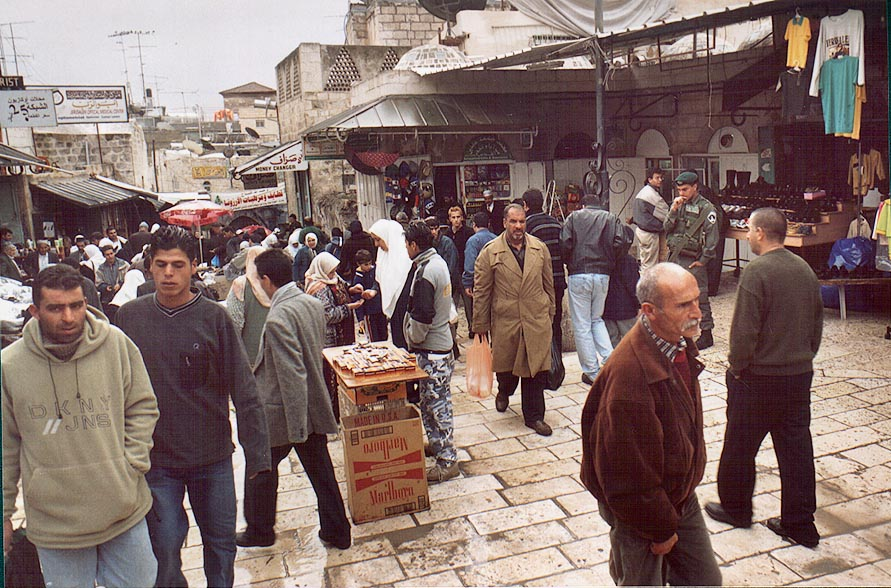 A market in Old City behind Damascus Gate, at El Wad Rd.. Jerusalem, the Middle East