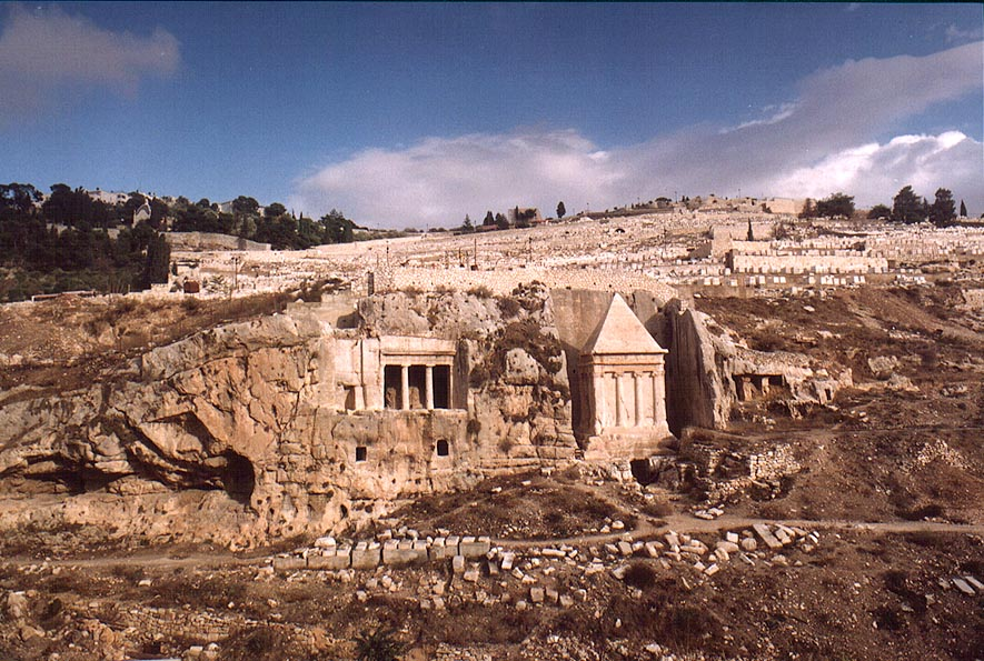 Ancient Jewish tombs in Kidron Valley, view from...sidewalk. Jerusalem, the Middle East