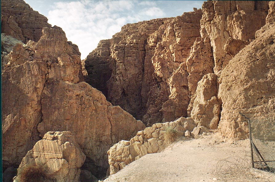 Opening of canyon of Tsafit Creek to Arava Valley...from Arava junction. The Middle East