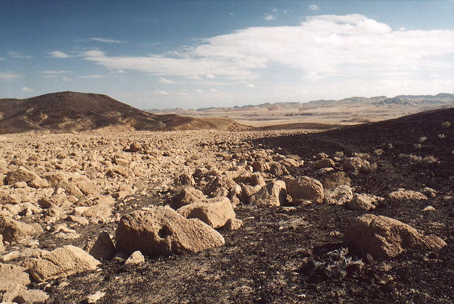 Bottom of the crater, down from Mitzpe Ramon, view to the east. The Middle East
