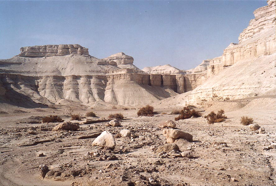 Chalky wadi of Nahal Pratzim, west from Mount Sdom. The Middle East